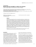 """Báo cáo y học: """" Monitoring and oversight in critical care research"""""""