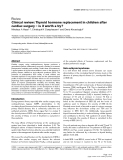 """Bóa cáo y học: """"Clinical review: Thyroid hormone replacement in children after cardiac surgery – is it worth a try"""""""