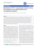 """Báo cáo y học: """"  Modulation of HIV-1 macrophage-tropism among R5 envelopes occurs before detection of neutralizing antibodies"""""""