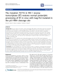 "Báo cáo y học: "" The mutation T477A in HIV-1 reverse transcriptase (RT) restores normal proteolytic processing of RT in virus with Gag-Pol mutated in the p51-RNH cleavage site"""