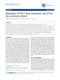 "Báo cáo y học: "" Modulation of HIV-1-host interaction: role of the Vpu accessory protein"""