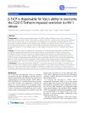 "Báo cáo y học: ""b-TrCP is dispensable for Vpu's ability to overcome the CD317/Tetherin-imposed restriction to HIV-1 release"""