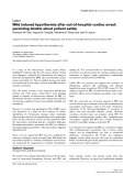 "Báo cáo y học: "" Mild induced hypothermia after out-of-hospital cardiac arrest: persisting doubts about patient safet"""