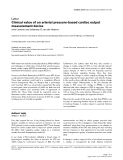 """Báo cáo y học: """"Clinical value of an arterial pressure-based cardiac output measurement device."""""""