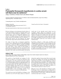 """Báo cáo y học: """"Formulas Prehospital therapeutic hypothermia in cardiac arrest: will there ever be evidence"""""""