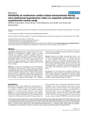 """Báo cáo y học: """"Reliability of continuous cardiac output measurement during intra-abdominal hypertension relies on repeated calibrations: an experimental animal study"""""""