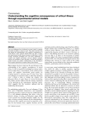 """Báo cáo y học: """"Understanding the cognitive consequences of critical illness through experimental animal models"""""""