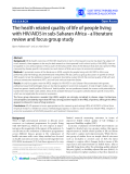 "Báo cáo y học: ""The health related quality of life of people living with HIV/AIDS in sub-Saharan Africa - a literature review and focus group study"""