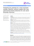 "Báo cáo y học: ""Evaluating the potential of a novel oral lesion exudate collection method coupled with mass spectrometry-based proteomics for oral cancer biomarker discovery"""