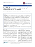 "Báo cáo y học: ""Cord blood versus age 5 mononuclear cell proliferation on IgE and asthma"""