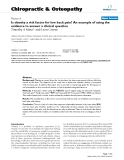 """Báo cáo y học: """"Is obesity a risk factor for low back pain? An example of using the evidence to answer a clinical question"""""""