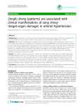 "Báo cáo y học: "" Zangfu zheng (patterns) are associated with clinical manifestations of zang shang (target-organ damage) in arterial hypertension"""