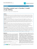 "Báo cáo y học: "" Providing surgical care in Somalia: A model of task shifting"""