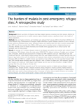 "Báo cáo y học: "" The burden of malaria in post-emergency refugee sites: A retrospective study Jamie Anderson1, Shannon Doocy1, Christophe"""
