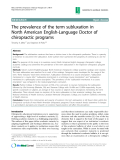"""Báo cáo y học: """"The prevalence of the term subluxation in North American English-Language Doctor of chiropractic programs"""""""