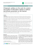 """Báo cáo y học: """" Chiropractic wellness on the web: the content and quality of information related to wellness and primary prevention on the Internet"""""""