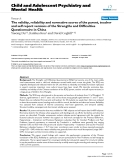 "Báo cáo y học: ""The validity, reliability and normative scores of the parent, teacher and self report versions of the Strengths and Difficulties Questionnaire in China"""