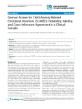 """Báo cáo y học: """"German Screen for Child Anxiety Related Emotional Disorders (SCARED): Reliability, Validity, and Cross-Informant Agreement in a Clinical Sample"""""""