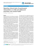 "Báo cáo y học: "" Reporting clinical trials of psychosocial interventions in child and adolescent psychiatry and mental health"""