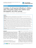 "Báo cáo y học: ""Correlates of self-reported offending in children with a first police contact from distinct sociodemographic and ethnic groups"""
