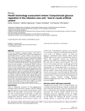 """Báo cáo y học: """"Health technology assessment review: Computerized glucose regulation in the intensive care unit - how to create artificial control"""""""