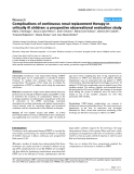 "Báo cáo y học: ""Complications of continuous renal replacement therapy in critically ill children: a prospective observational evaluation study"""