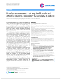 """Báo cáo y học: """"Hourly measurements not required for safe and effective glycemic control in the critically ill patient"""""""