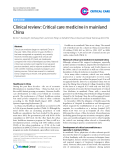 "Báo cáo y học: ""Clinical review: Critical care medicine in mainland China"""
