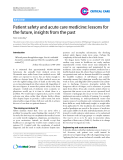 """Báo cáo y học: """"Patient safety and acute care medicine: lessons for the future, insights from the past"""""""