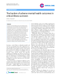 "Báo cáo y học: ""The burden of adverse mental health outcomes in critical illness survivors"""