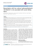 "Báo cáo y học: ""Resuscitation with low volume hydroxyethylstarch 130 kDa/0.4 is not associated with acute kidney injur"""