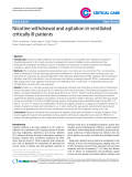 "Báo cáo y học: ""Nicotine withdrawal and agitation in ventilated critically ill patients"""