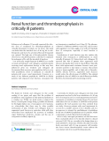 "Báo cáo y học: "" Renal function and thromboprophylaxis in critically ill patients"""