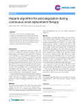 "Báo cáo y học: ""Heparin algorithm for anticoagulation during continuous renal replacement therapy"""