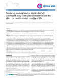"""Báo cáo y học: """"Surviving meningococcal septic shock in childhood: long-term overall outcome and the effect on health-related quality of life"""""""