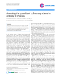 "Báo cáo y học: ""Assessing the quantity of pulmonary edema in critically ill children"""