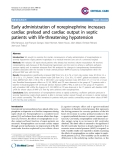 "Báo cáo y học: ""Early administration of norepinephrine increases cardiac preload and cardiac output in septic patients with life-threatening hypotensio"""