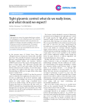 """Báo cáo y học: """"Tight glycemic control: what do we really know, and what should we expec"""""""
