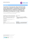 """Báo cáo y học: """"Correction: A prospective observational study of the relationship of critical illness associated hyperglycaemia in medical ICU patients and subsequent development of type 2 diabetes"""""""