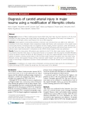 "Báo cáo y học: "" Diagnosis of carotid arterial injury in major trauma using a modification of Memphis criteria"""