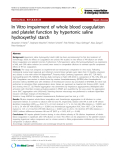 "Báo cáo y học: "" In Vitro impairment of whole blood coagulation and platelet function by hypertonic saline hydroxyethyl starch"""