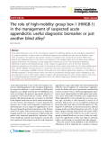 "Báo cáo y học: ""The role of high-mobility group box-1 (HMGB-1) in the management of suspected acute appendicitis: useful diagnostic biomarker or just another blind alley?"""