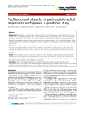 """Báo cáo y học: """" Facilitators and obstacles in pre-hospital medical response to earthquakes: a qualitative study"""""""