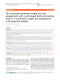 """Báo cáo y học: """"The association between weight loss and engagement with a web-based food and exercise diary in a commercial weight loss programme: a retrospective analysis"""""""