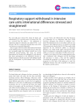 "Báo cáo y học: "" Endothelial Respiratory support withdrawal in intensive care units: international differences stressed and straightene"""