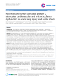 "Báo cáo y học: ""Recombinant human activated protein C attenuates cardiovascular and microcirculatory dysfunction in acute lung injury and septic shock"""