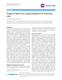 "Báo cáo y học: "" Triage of high-risk surgical patients for intensive care"""