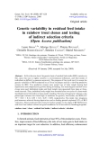 """Báo cáo sinh học: """"Genetic variability in residual feed intake in rainbow trout clones and testing of indirect selection criteria (Open Access publication)"""""""