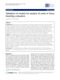 "Báo cáo sinh học: "" Validation of models for analysis of ranks in horse breeding evaluation"""