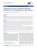 "Báo cáo sinh học: "" Persistence of accuracy of genomic estimated breeding values over generations in layer chickens"""